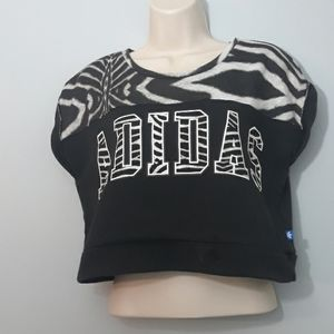 Adidas Zebra & Blacl Print Crop Top Spellout Top